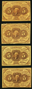 Fractional Currency:First Issue, Fr. 1230 5¢ First Issue Four Examples Fine or Better.. ... (Total: 4 notes)