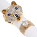 Estate Jewelry:Rings, Diamond, Sapphire, Glass, Gold Rings. ... (Total: 2 Items)