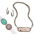 Estate Jewelry:Lots, Rutilated Quartz, Chalcedony, Diamond, Silver Jewelry. ... (Total: 4 Items)