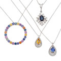 Estate Jewelry:Pendants and Lockets, Sapphire, Diamond, Gold Pendant-Necklaces. ... (Total: 4 Items)