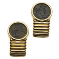 Estate Jewelry:Earrings, Coin, Gold Earrings. ...