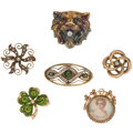 Estate Jewelry:Brooches - Pins, Multi-Stone, Seed Pearl, Painted Portrait, Diamond, Gold Brooches.... (Total: 6 Items)