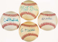 Baseball Collectibles:Balls, New York Giants Greats Single Signed Baseball Quartet (4) -Includes Durocher, Hubbell, Wilhelm, & Irvin. . ...