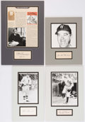 Autographs:Others, Baseball Greats Signed Cut Signature Displays Lot of 4.. ...