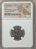 Ancients:Roman Provincial , Ancients: THRACE. Thracian Kingdom. Augustus (27 BC-AD 14) withRhoemetalces I (ca. 11 BC-AD 12). AE18. NGC XF, adjustedplanchet....