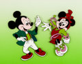 Animation Art:Production Cel, Mickey Mouse and Minnie Mouse Production Cel (Walt Disney, c.1980s)....
