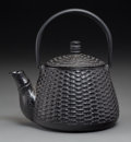 Asian:Japanese, A Japanese Iron Teapot with Woven Texture, late 20th century. 7inches high (17.8 cm). ...