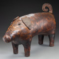 Other, A Dimitri Omersa for Abercrombie & Fitch Leather Pig Ottoman or Footstool, circa 1960. Marked under ear: MADE IN ENGLAND...