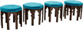 Furniture , Four Moroccan Octagonal Carved Wood Stools. 18-1/2 h x 20 w x 20 d inches (47.0 x 50.8 x 50.8 cm). ... (Total: 4 Items)