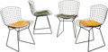 Furniture : American, Four Harry Bertoia for Knoll Black Wire Side Chairs with LeatherCushions, designed 1952. 30 h x 21 w x 20 d inches (76.2 x ...(Total: 4 Items)