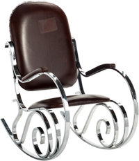 A Maison Jansen Chrome and Leather Rocking Chair, 20th Century 42 h x 22-3/4 w x 42 d inches (106.7 x 57.8 x 106.7