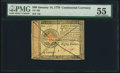 Colonial Notes:Continental Congress Issues, Continental Currency January 14, 1779 $80 PMG About Uncirculated55.. ...