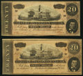 Confederate Notes:1864 Issues, T67 $20 1864 PF-3 Cr. 559 Two Examples.. ... (Total: 2 notes)