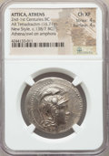 Ancients:Greek, Ancients: ATTICA. Athens. Ca. 165-42 BC. AR tetradrachm (16.71 gm).NGC Choice XF 4/5 - 4/5....