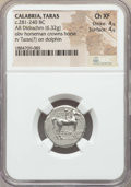 Ancients:Greek, Ancients: CALABRIA. Tarentum. Ca. 272-240 BC. AR stater or didrachm(6.32 gm). NGC Choice XF 4/5 - 4/5....