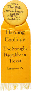 """Political:Pinback Buttons (1896-present), Warren G. Harding: """"I Cast My First Vote"""" Woman's Suffrage Ribbon Badge...."""