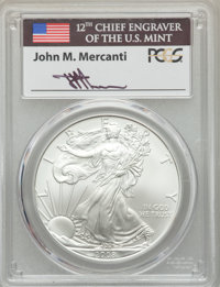2008-W $1 Silver Eagle, Reverse of 2007, FS-901, Burnished, Mercanti Signature, SP70 PCGS....(PCGS# 546155)