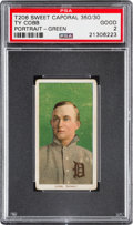 Baseball Cards:Singles (Pre-1930), 1909-11 T206 Sweet Caporal Ty Cobb (Green Background) PSA Good 2....