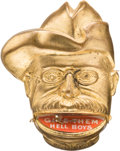 """Political:Pinback Buttons (1896-present), Theodore Roosevelt: Popular """"Give Them Hell Boys"""" Mechanical...."""