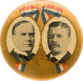 """Political:Pinback Buttons (1896-present), McKinley & Roosevelt: Seldom-Offered 4"""" Red, White and Blue """"Bow"""" Jugate...."""