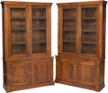 Furniture , A Pair of English George IV-Style Walnut Bookcases with Grillwork Paneling, late 19th century. 90-1/4 h x 52 w x 18 d inches... (Total: 2 Items)
