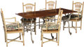 Furniture , A French Provincial-Style Walnut and Cast Iron Dining Table with Five Chairs. 30-1/2 h x 70 w x 31-1/2 d inches (77.5 x 177.... (Total: 6 Items)