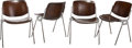 Furniture : Continental, Four Giancarlo Piretti for Anoima Castelli Upholstered Aluminum andSteel DSC 106 Stacking Chairs, circa 1960. 2... (Total: 4Items)