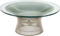 Furniture , A Warren Platner for Knoll Nickel and Glass-Topped Coffee Table, designed 1966. 15-1/4 inches high x 36 inches diameter (38....