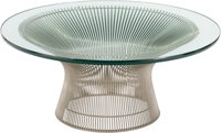 A Warren Platner for Knoll Nickel and Glass-Topped Coffee Table, designed 1966 15-1/4 inches high x 36 inches diam