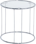 Furniture : Continental, A Modernist Chrome and Glass Side Table, 20th century. 17 incheshigh x 16-3/4 inches diameter (43.2 x 42.5 cm). ... (Total: 2Items)
