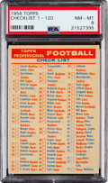 Football Cards:Singles (1950-1959), 1956 Topps Checklist PSA NM-MT 8 - None Higher....