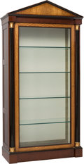 Furniture : Continental, A Large Empire-Style Mahogany and Satinwood Display Cabinet, late20th century. 93 h x 44-1/2 w x 20 d inches (236.2 x 113.0...(Total: 2 Items)