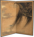 Asian:Japanese, A Large Japanese Painted Room Screen with Dragon Motif, MeijiPeriod, circa 1868-1912. Marks: (seal and signature). 67 inche...
