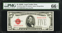 Fr. 1527 $5 1928B Mule Legal Tender Note. PMG Gem Uncirculated 66 EPQ