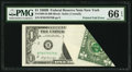 Error Notes:Foldovers, Printed Fold Error Fr. 1905-B $1 1969B Federal Reserve Note. PMGGem Uncirculated 66 EPQ.. ...