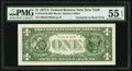 Error Notes:Third Printing on Reverse, Third Printing on Back Error Fr. 1910-B $1 1977A Federal Reserve Note. PMG About Uncirculated 55 EPQ.. ...