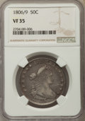 Early Half Dollars, 1806 50C 6 Over Inverted 6 VF35 NGC. NGC Census: (1/7). PCGSPopulation: (10/28). Mintage 839,576. ...