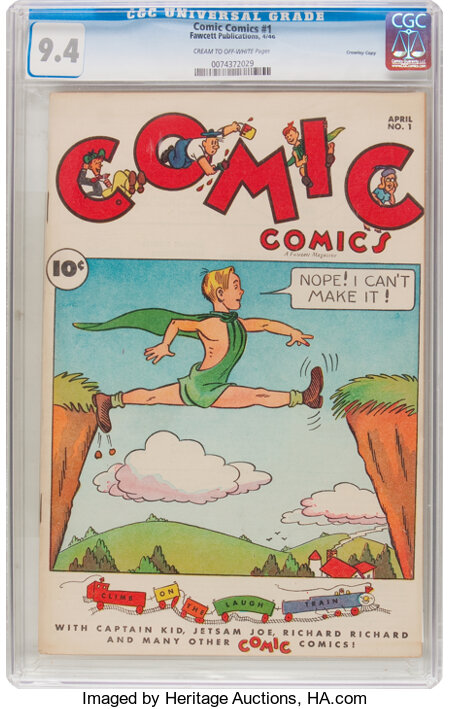 Comic Comics #1 Crowley Copy Pedigree (Fawcett Publications, 1946) CGC NM 9.4 Cream to off-white pages....