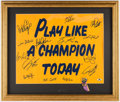 "Football Collectibles:Uniforms, Notre Dame Greats ""Play Like A Champion Today"" Multi-Signed Display - 14 Signatures. ..."