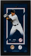 Baseball Collectibles:Photos, Aaron Judge Framed Photograph Display With Yankee Stadium Dirt andSwatch of Game Used Pants.. ...