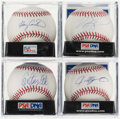 Baseball Collectibles:Balls, Hall of Fame Catchers Single Signed Baseball Quartet (4) - IncludesFisk, Rodriguez, Carter, & Piazza. . ...
