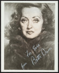"Movie Posters:Miscellaneous, Bette Davis (1950s). Autographed Photo (8"" X 10""). Miscellaneous....."