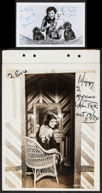 """Lillian Roth & Other Lot (Paramount, 1930). Overall Grade: Very Fine-. Autographed Photo (5.5"""" X 3.5""""), Au..."""