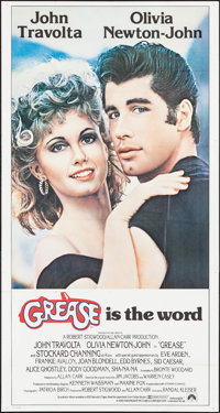 "Grease (Paramount, 1978). Folded, Very Fine. International Three Sheet (41"" X 77""). Musical"