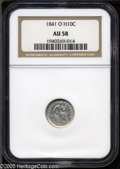 Seated Half Dimes: , 1841-O H10C AU58 NGC. V-1A. Bright silver with traces of luster inthe protect areas. Both the obverse and reverse exhibit ...