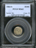 Seated Half Dimes: , 1864-S H10C MS62 PCGS. Medium tan-gray in color with clean surfacesand satin luster. Well struck aside from the reverse de...
