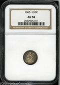 Seated Half Dimes: , 1865 H10C AU58 NGC. V-1. Light silver at the centers with deeperblue around the rims. A few minor handling marks from brie...