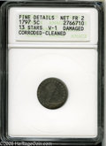 Early Half Dimes: , 1797 H10C 13 Stars--Corroded, Cleaned, Damaged--ANACS. FineDetails, Net Fair 2. V-1, LM-4, R.6. Valentine-1 is the rarest ...