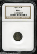 Proof Seated Half Dimes: , 1870 H10C PR65 NGC. Although 1,000 pieces are reported as struck,relatively low third-party populations suggest a much sm...
