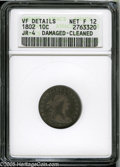 Early Dimes: , 1802 10C--Damaged, Cleaned--ANACS. VF Details, Net Fine 12. JR-4,R.4. Glossy from a mild polishing, this scarce Early Dime...